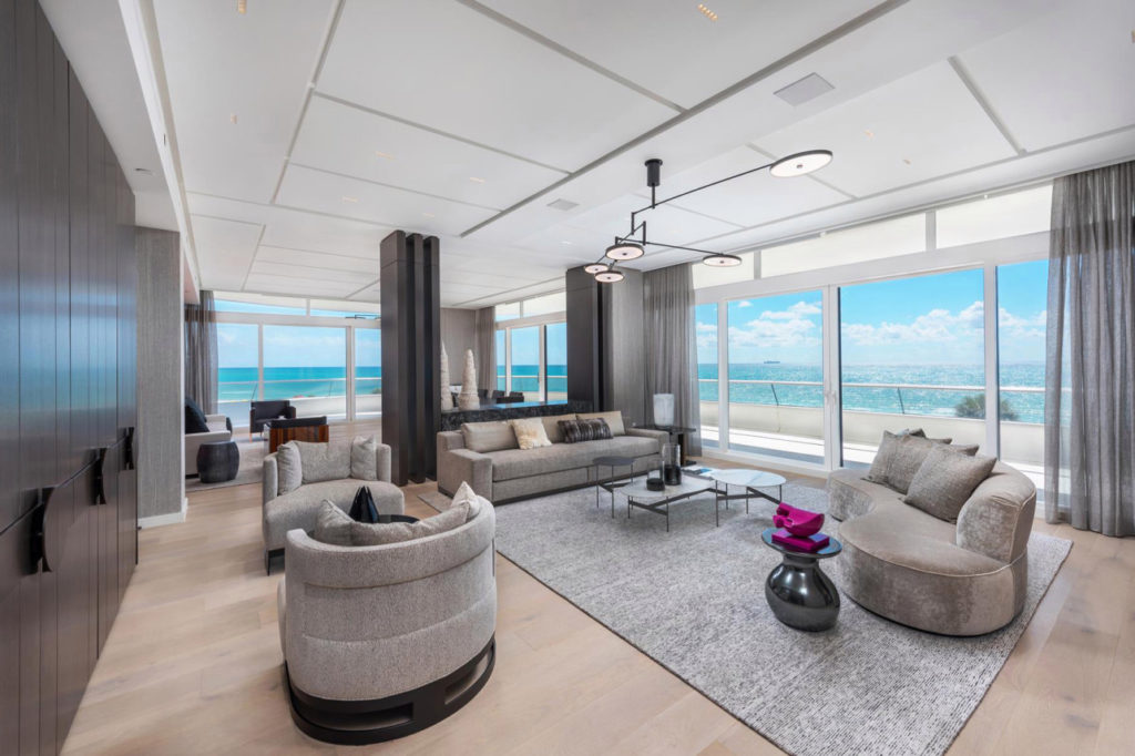 stunning living room in kanye west miami condo at faena house